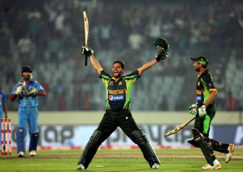 Pakistani players Shahid Afridi celebrates after winning the 6th ODI match of Asia Cup against India at Shere Bangla National Stadium in Mirpur of Bangladesh