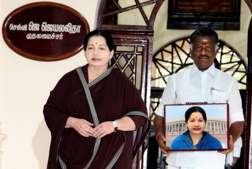 Tamil Nadu Chief Minister J jayalalithaa and Tamil Nadu Finance Minister O Panneerselvam at Tamil Nadu Secretariat before presenting the state budget for 2014-15 in Chennai on Feb.13, 2014. (Photo: IANS)