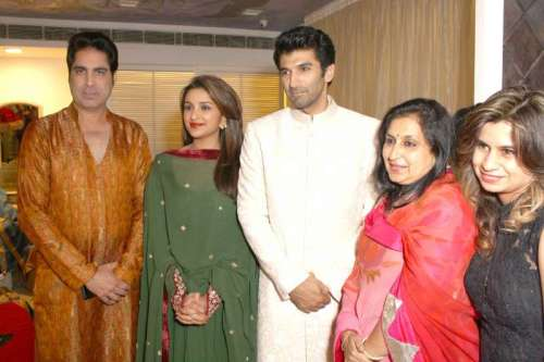 The star cast of film Daawat - E - Ishq, Parineeti Chopra and Aditya Roy Kapoor during promotion of the film in New Delhi on Sept. 17, 2014. (Photo:Amlan Paliwal/IANS)