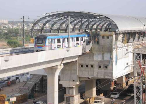 A metro train runs for the first time between Nagole Depot and Survey of India Station to test alignment, tracks, signalling and communication on the route in Hyderabad