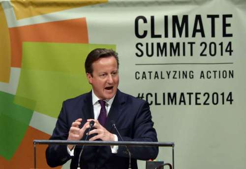 British Prime Minister David Cameron speaks during the Climate Summit at the UN headquarters in New York, on Sept. 23, 2014. The one-day summit, convened by UN Secretary-General Ban Ki-moon, is expected to galvanize global action on climate change.