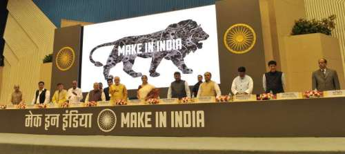 "The Prime Minister, Shri Narendra Modi releasing the logo at the inauguration of the ""MAKE IN INDIA"", in New Delhi"