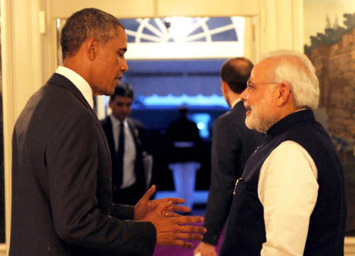 The President Barack Obama of the United States welcomes the Prime Minister, Shri Narendra Modi, at the dinner hosted in his honour, at the White House, in Washington DC. FILE PHOTO