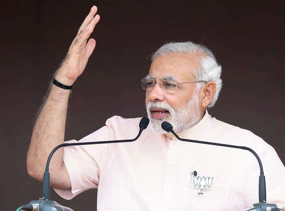 Prime Minister Narendra Modi addresses a BJP rally in Amravati district of Maharashtra
