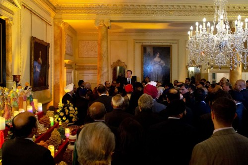 Prime Minister David Cameron addressing the gathering at No 10 to celebrate Diwali