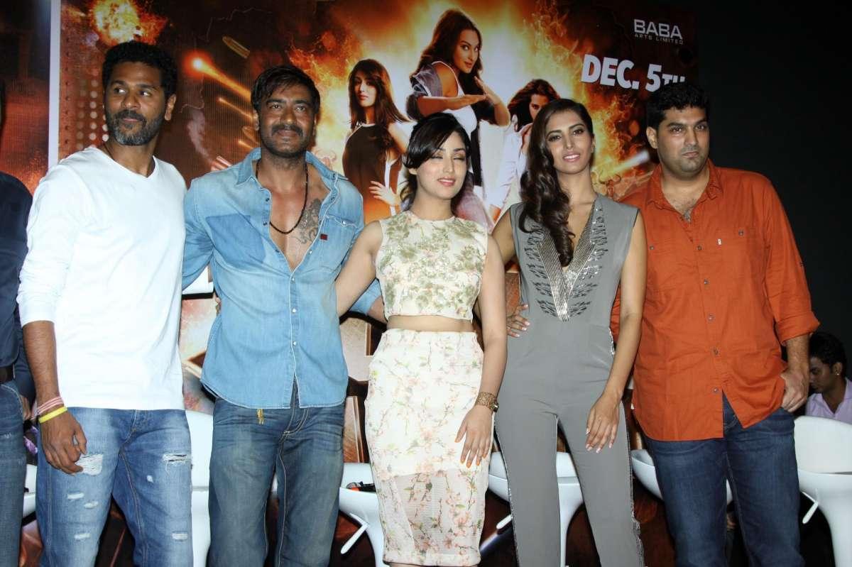 Filmmaker Prabhu Deva, actors Ajay Devgan, Yami Gautam, Manasvi Mamgai and Kunaal Roy Kapur during the trailer launch of film Action Jackson in Mumbai on Oct 22, 2014. (Photo: IANS)