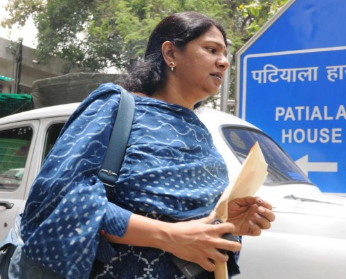 DMK leader Kanimozhi arrives at Patiala House court in New Delhi on May 30, 2014. (Photo: IANS)