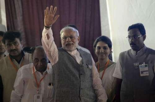 Prime Minister Narendra Modi during a BJP rally in Borivali of Mumbai on Oct.12, 2014. (Photo: Sandeep Mahankal/IANS)
