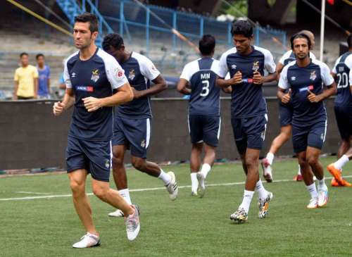 Indian Super League football franchise based in Kolkata, Atletico de Kolkata players during a practice session in Kolkata