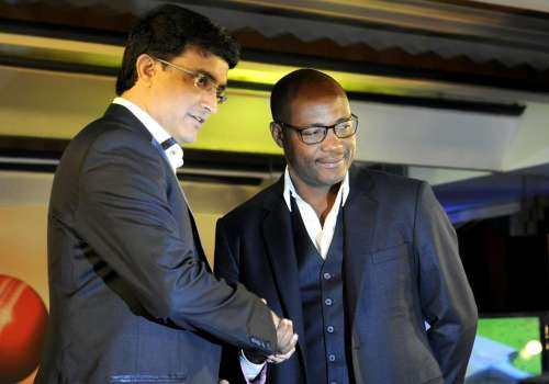 Former Indian cricketer Sourav Ganguly with Former West Indian cricketer Brian Lara