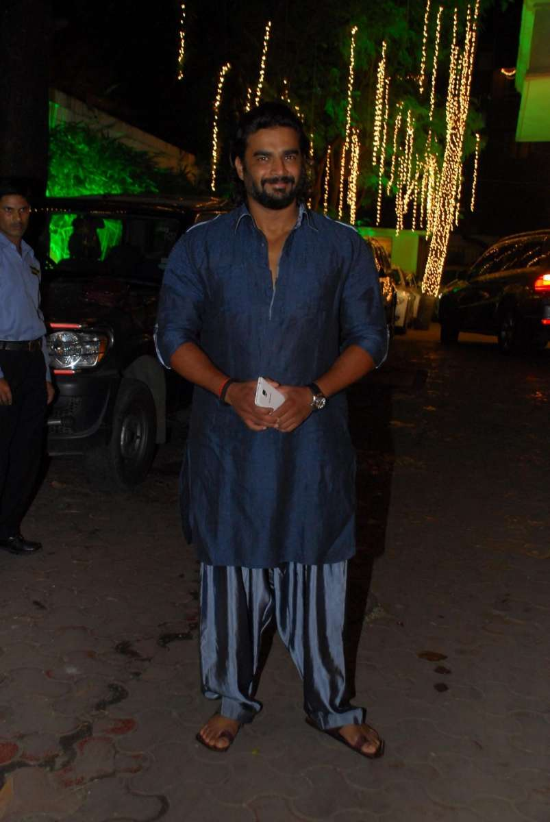 Mumbai: Actor R Madhavan arrives to attend actor Shilpa Shetty`s Diwali party for her friends, in Mumbai, on October 19, 2014. (Photo: IANS)