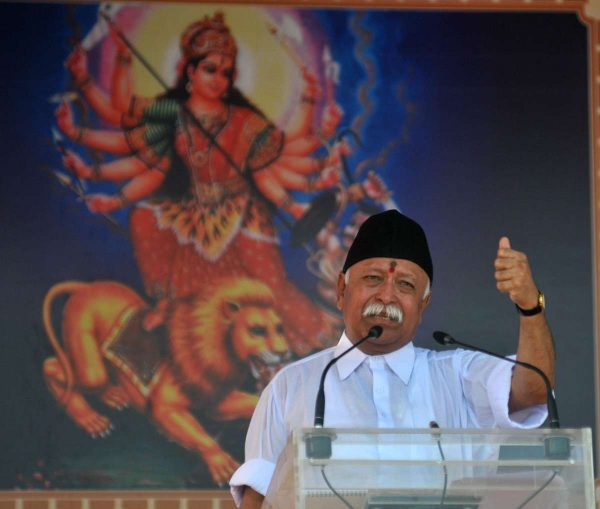 Rashtriya Swayamsevak Sangh (RSS) chief Mohan Bhagwat addresses during a programme organised on Sangh's foundation day and Vijaya Dashmi at Sangh's headquarters in Nagpur (File)