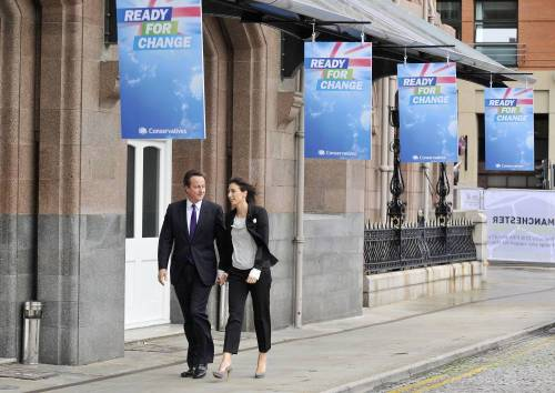 Conservative party leader David Cameron and his wife Samantha Cameron