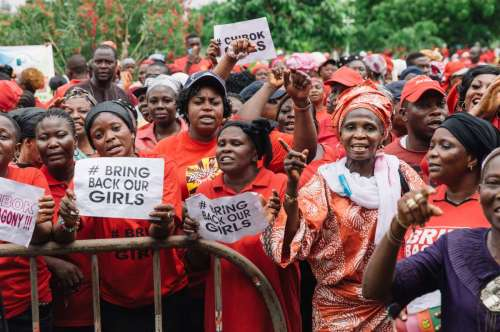 Protesters gather during a rally to demand the return of some 200 missing school girls abducted by Boko Haram in the state of Lagos, Nigeria