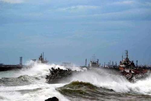 High tidal waves lash the Visakhapatnam coast during Cyclonic Storm `HudHud` in Visakhapatnam