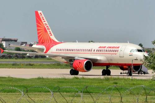 The Ahmedabad bound Air India aeroplane, which had to make an emergency landing in Jaipur on Aug 22, 2014. The flight had left Delhi with 144 passenger. (Photo: Ravi Shankar Vyas/IANS)