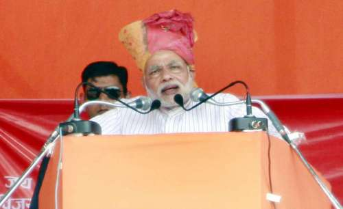 Prime Minister Narendra Modi during a BJP rally in Faridabad on Oct.8, 2014. (Photo: IANS)