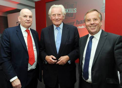 Norman Cave, principal of Bournville College, Lord Michael Heseltine and Tim Pile, president of Birmingham Chamber of Commerce