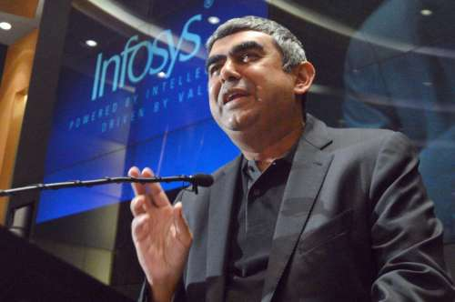 Newly appointed CEO and MD of Infosys, Vishal Sikka during a press conference at Infosys campus, in Bangalore