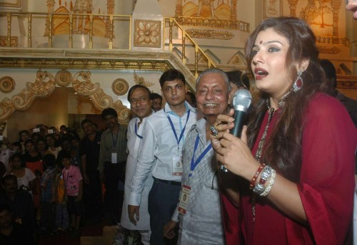 Actress Raveena Tandon during inauguration of a Durga Puja pandal in Kolkata, on Sept. 29, 2014. (Photo: IANS)