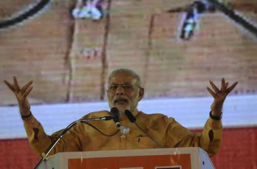 Prime Minister Narendra Modi addresses during a rally at Mahalaxmi Racecourse in Mumbai.