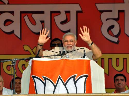 Prime Minister Narender Modi addressing during Vijay Haryana Rally in Faridabad on Oct. 6, 2014.