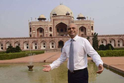 Minister of Culture, Media and Sport of UK Sajid Javed during his visit to Humayun's Tomb in New Delhi