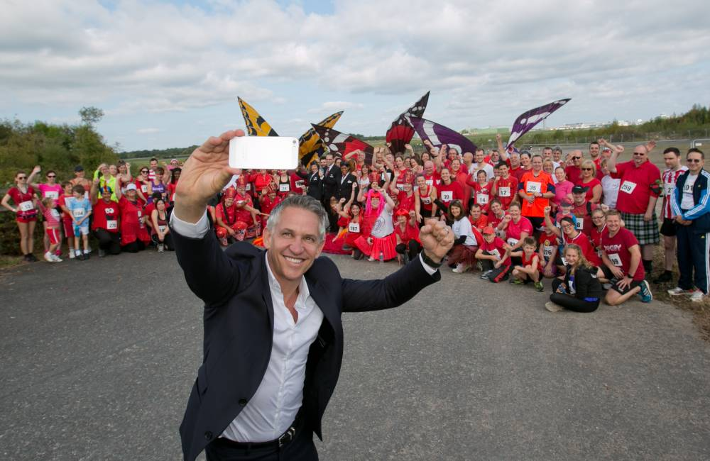 Gary Lineker at the charity run event in Manchester