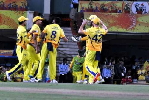 CSK players celebrate fall of wicket during the 21st match of IPL 2014 between Kolkata Knight Riders and Chennai Super Kings, played at JSCA International Stadium Complex in Ranchi on May 2, 2014. (Photo: IANS)
