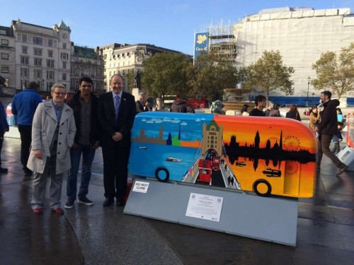 Deven Bhurke with his creation and admirers in London. Pics: Michelle Heron