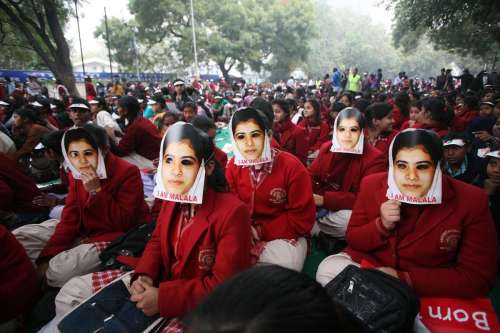 Indian schoolgirls wear masks of Malala Yousufzai, a 15-year-old girl who was shot at close range in the head by a Taliban gunman in Pakistan, during a campaign to demand better budgetary allocation for health and education of Indian children in New Delhi, India, on Feb. 2. Malala has been nominated for this year's Nobel Peace Prize.(Photo: IANS)