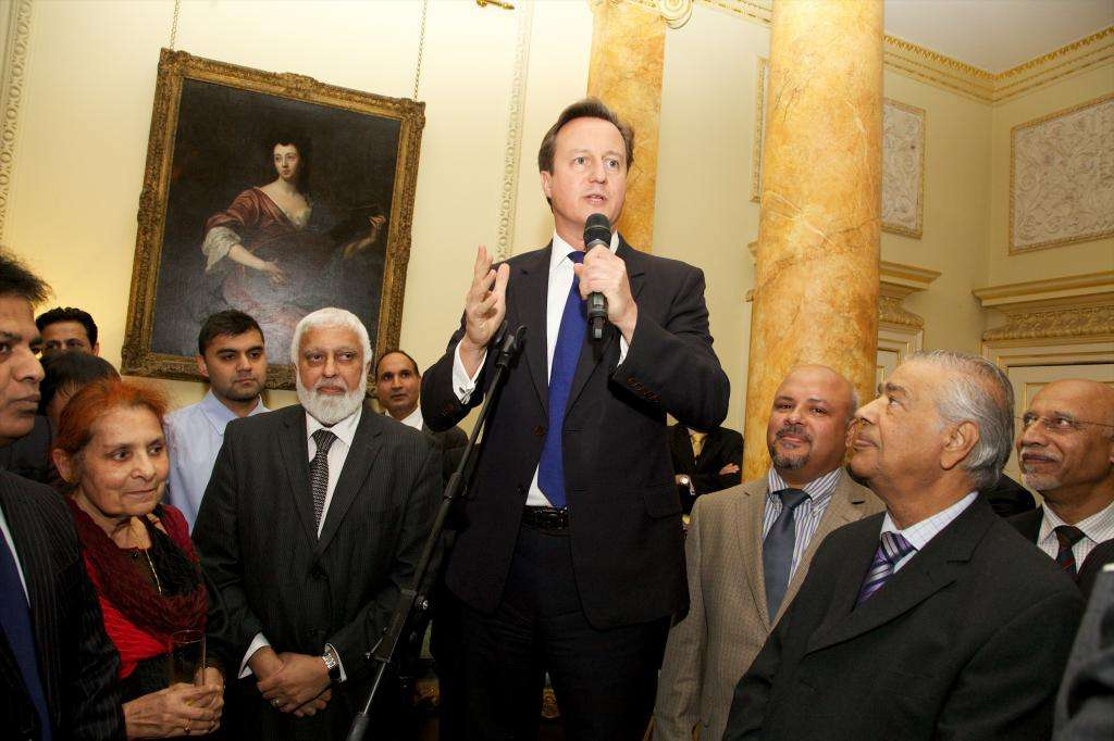 Prime Minister David Cameron addressing the Eid reception at No 10