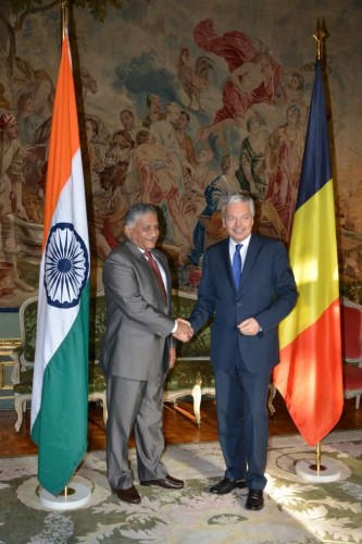 Minister of State for External Affairs Gen. (retd) V.K. Singh with Belgium's Deputy Prime Minister and Foreign Minister Didier Reynders,