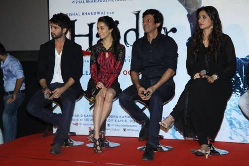 Actors Shahid Kapoor, Tabu, Shraddha Kapoor and Kay Kay Menon during the trailer launch of upcoming film Haider at PVR Cinemas in Mumbai on July 7, 2014. (Photo: IANS)