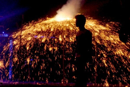 People celebrate Diwali with fireworks at Salt Lake in Kolkata,