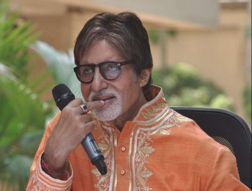 Actor Amitabh Bachchan speaks to the media