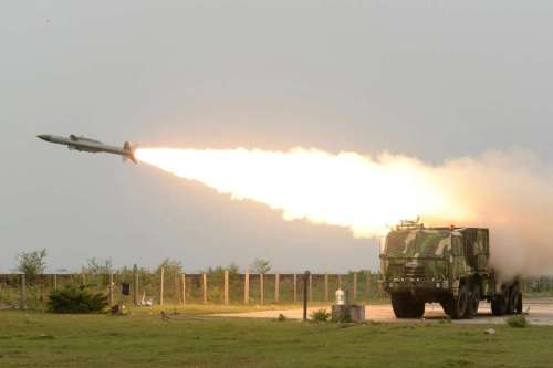 Akash missile being test fired at a very low altitude from Integrated Test Range in Balasore of Odisha on June 18, 2014. The missile passed the test.