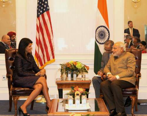 Prime Minister Narendra Modi during a meeting with the Governor of South Carolina, Nikki Haley in New York, United States of America on Sept. 28, 2014. FILE PHOTO