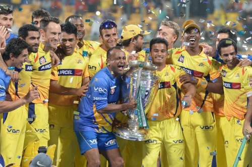 Chennai Super Kings celebrate after winning the final CLT20 match against Kolkata Knight Riders at M.Chinnaswamy Stadium in Bangalore