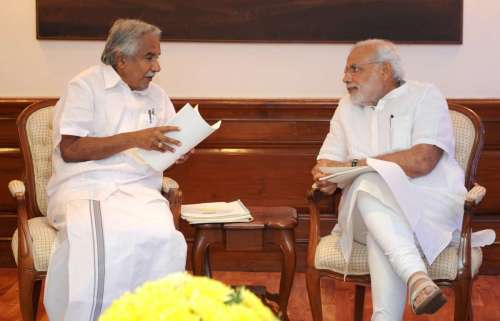 The Chief Minister of Kerala, Shri Oommen Chandy calling on the Prime Minister, Shri Narendra Modi, in New Delhi on October 16, 2014.FILE PHOTO