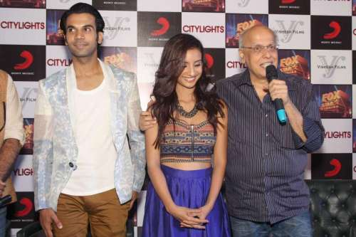 Filmmaker Mahesh Bhatt with actors Rajkummar Rao and Patralekha during a press conference to promote their upcoming film 'Citylights' in New Delhi