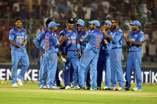 Indian players celebrating the wicket of a West Indies player during 2nd ODI of the Micromax International Cricket Series against West Indies at Feroz Shah Kotla in New Delhi