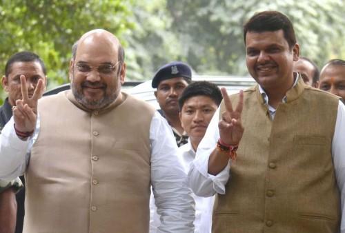 BJP chief Amit Shah with Maharashtra Chief Minister-elect Devendra Fadnavis