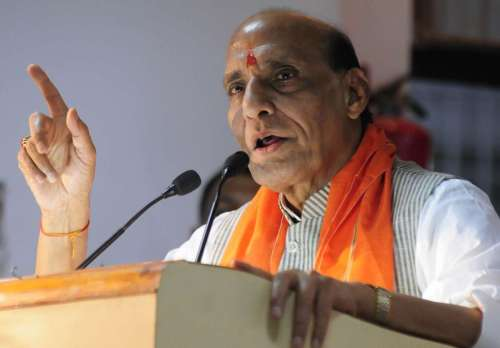 Union Home Minister Rajnath Singh addresses during a BJP programme in Lucknow on Sept. 29, 2014. (Photo: IANS)