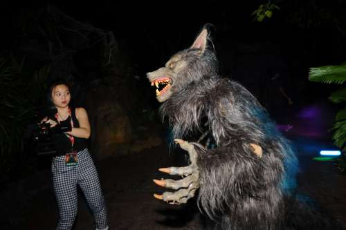 A participant experiences the Halloween Horror Nights at Universal Studios Singapore on Sept. 30, 2014. Universal Studios Singapore held a media preview of the Halloween Horror Nights on Tuesday. (Xinhua/Then Chih Wey)