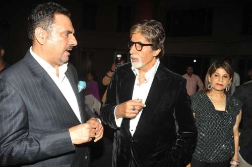 Actor Amitabh Bachchan and Boman Irani during the success party of movie Bhootnath Returns in Mumbai. FILE PHOTO