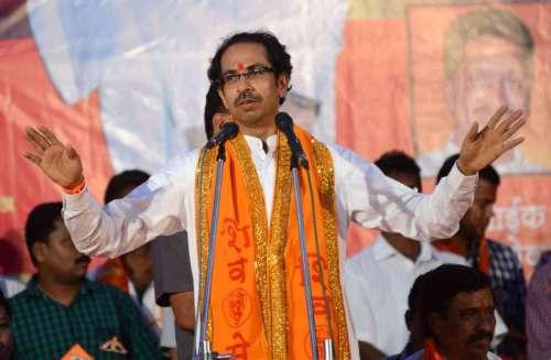 Shiv Sena Chief Uddhav Thackeray addresses a rally at Malvan in Sindhudurg district of Maharashtra