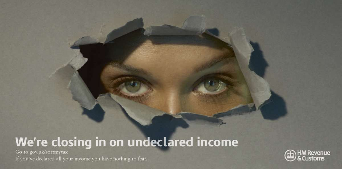 An HMRC poster alerting the tax evaders in Britain