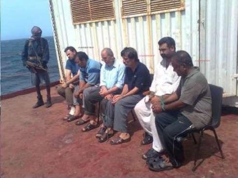 Captured Indian sailors of MV Asphalt Venture.
