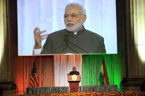 The Prime Minister, Shri Narendra Modi delivering his address at the reception hosted by US-India Business Council, in Washington DC